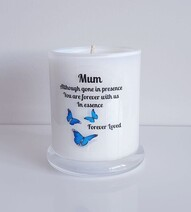 Blue Butterfly Memorial Candle