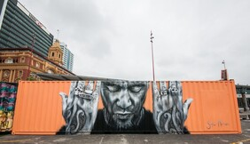 Portrait of Tiki Taane on 40ft Shipping Container