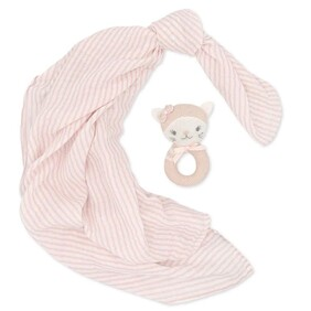 Living Textiles Daisy The Cat Muslin Swaddle & Rattle