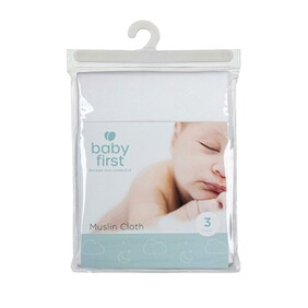 Baby First muslin Face Washers 3 pkt