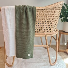 Ecosprout Organic Cotton Cellular Blanket Olive