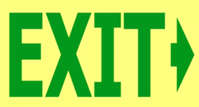 240 x 150 EXIT -> Right Arrow Glow in the Dark PVC - 16 metre viewing Sign