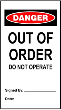 DANGER Out Of Order - Tags Pkt 25