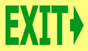 300 x 200 EXIT -> Right Arrow Glow in the Dark PVC - 24 metre viewing Sign
