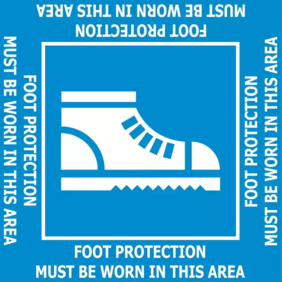 400x400 Foot Protection Must Be Worn FL175 Floor Graphic Sign