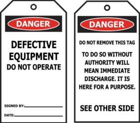 DANGER - Defective Equipment Do Not Operate Tags Pkt 25