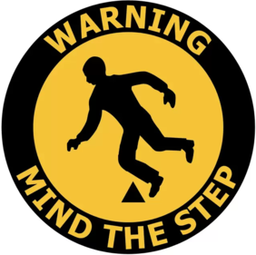 400mm dia Warning Mind The Step FG163 Floor Graphic Sign