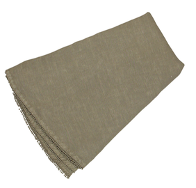 French Country Bauble Round Linen Table Cloth - Taupe 180cmLx180cmW