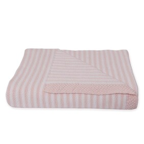 Living Textiles Knitted Stripe Blanket - Pink/White
