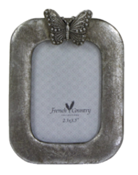 French Country Butterfly Photo Frame - Ant Silver 2.5x3.5