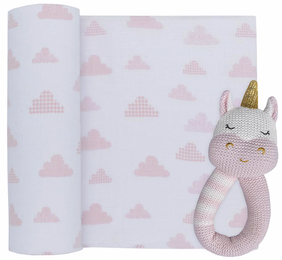 Living Textiles Unicorn/Clouds Muslin Swaddle & Rattle - Pink