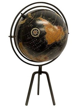 French Country Black Globe on Black Stand Large 39x31x61cmH