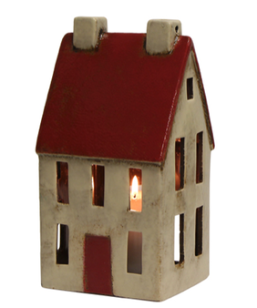 French Country Chalet Tea Light House Red & White - Tall 14cmLx12cmWx25.5cmH