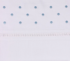 Alice & Lily Embroidered Dot Pillowcase - Blue Pair