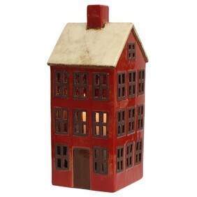 French Country Grande Chalet Tea Light House Red & White