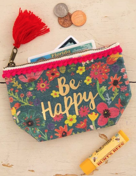 Natural Life Be Happy Mini Canvas Pouch 10x14cm