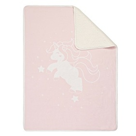 Linens & More Unicorn Sherpa Baby Blanket - Pink 75x100