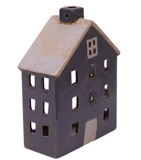 French Country Wide Chalet Tea Light House Grey