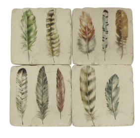 French Country Feather Resin Coasters Set 4
