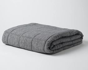 Citta Sove Chambray Linen Quilted Blanket - Charcoal 200x200