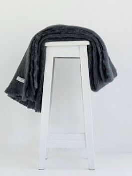 Windermere Mohair Throw Charcoal - 130x185cm