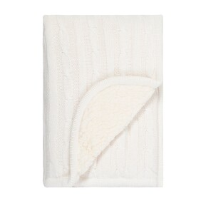 Linens & More Sherpa Cotton Baby Blanket - White 75x100
