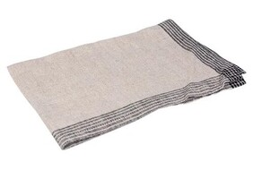 French Country Woven Border Tea Towel - Natural & Black