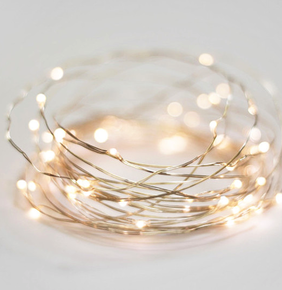 Solarnights 100 LED Wire AA Light String - Silver/Warm 10m