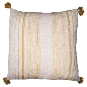 French Country Butter Stripe Tassel Cushion - 60x60cm