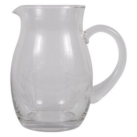 French Country Wreath Etched Glass Pitcher