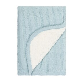Linens & More Sherpa Cotton Baby Blanket - Blue 75x100