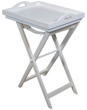 French Country Wooden Tray Table - White