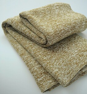 MM Linen Chambray Knitted Throw Chestnut - 130x170cm