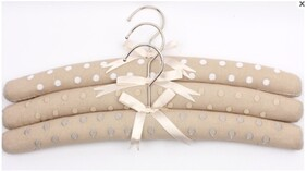 Alice & Lily Embroidered Dot Linen Hangers - S/3