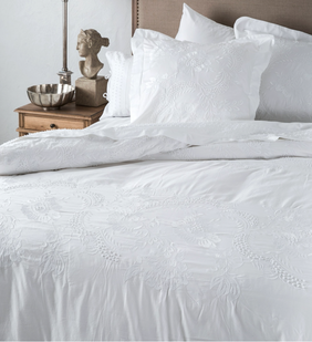 French Country Embelli Embroidered Duvet - White