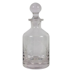 French Country Wreath Etched Glass Decanter