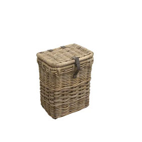 French Country Grove Laundry Basket w Leath Strap S