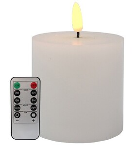 Le Forge LED Battery Remote Pillar Candle - White 7.5x7.5cm