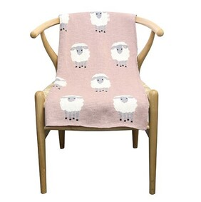Le Forge Cotton Flock of Sheep Throw Pink/Natural - 80x100cm
