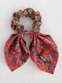 Natural Life Mixed Print Tie Scrunchie - Red/Mustard