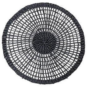 French Country Woven Round Placemat - Black