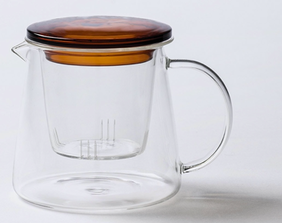 Citta Teapot with Coloured Lid - Clear/Amber Large 11cmx11.5cmh
