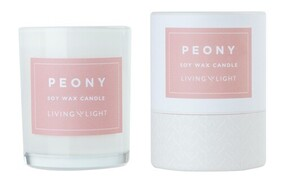 Living Light Peony Soy Candle - 30hrs
