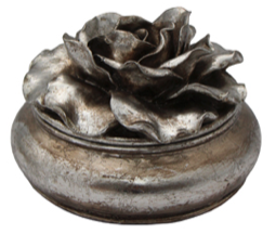 French Country Camelia Pewter Finish Trinket Box