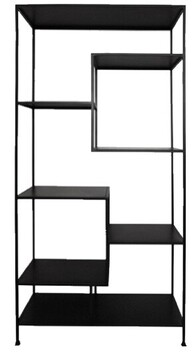French Country Shelf Unit Black Metal Staggered