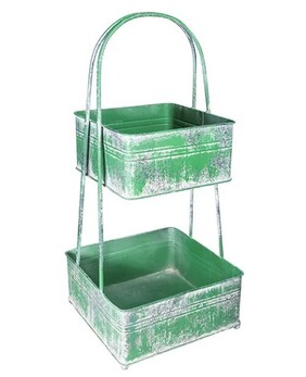 French Country 2 Tier Square Metal Basket