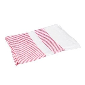 French Country Woven Multi Stripe Tea Towel - Red & White