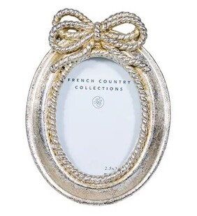 """French Country Silver Bow Oval Photo Frame - Mini 2.5x3.5"""""""