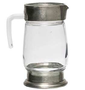French Country Pewter & Glass Jug 22cm H