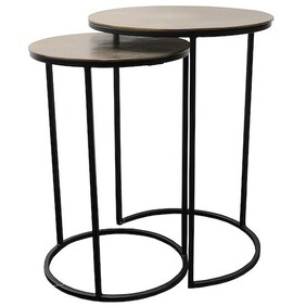 Le Forge Punto Nest of 2 Tables - Antique Brass